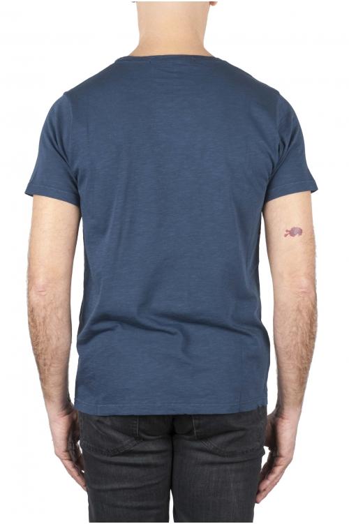 SBU 01648_19AW フレームドコットンスクープネックTシャツブルー 01