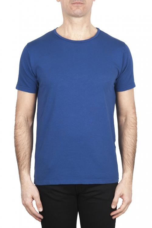 SBU 01649_19AW Flamed cotton scoop neck t-shirt blue 01
