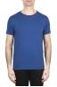 SBU 01649_19AW T-shirt girocollo aperto in cotone fiammato blu 01