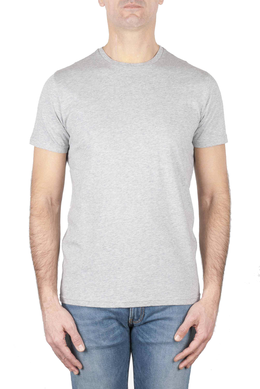 SBU 01747_19AW Clásica camiseta de cuello redondo gris melange manga corta de algodón 01
