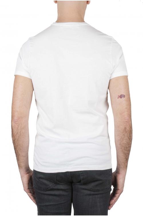 SBU 01749_19AW Shirt classique blanc col rond manches courtes en coton 01