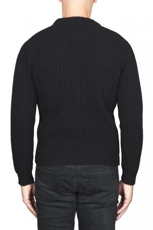 SBU 01596_19AW 黒い純粋なウールの漁師のリブのクラシッククルーネックセーター 01