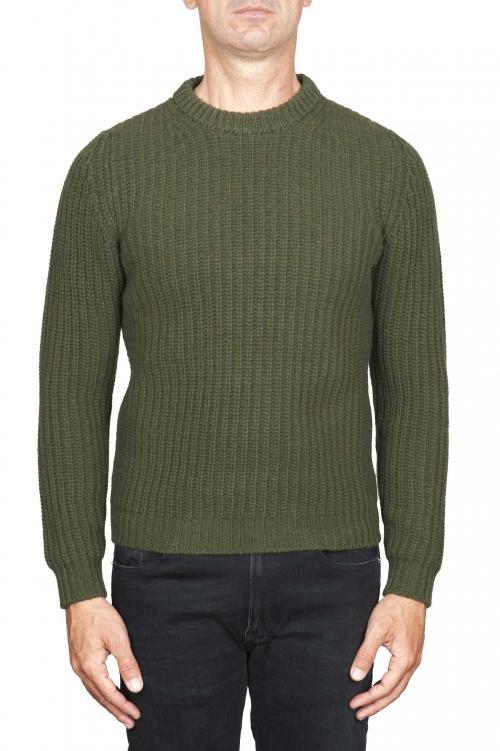 SBU 01597_19AW Suéter clásico de cuello redondo en costilla de pescador de lana pura verde 01