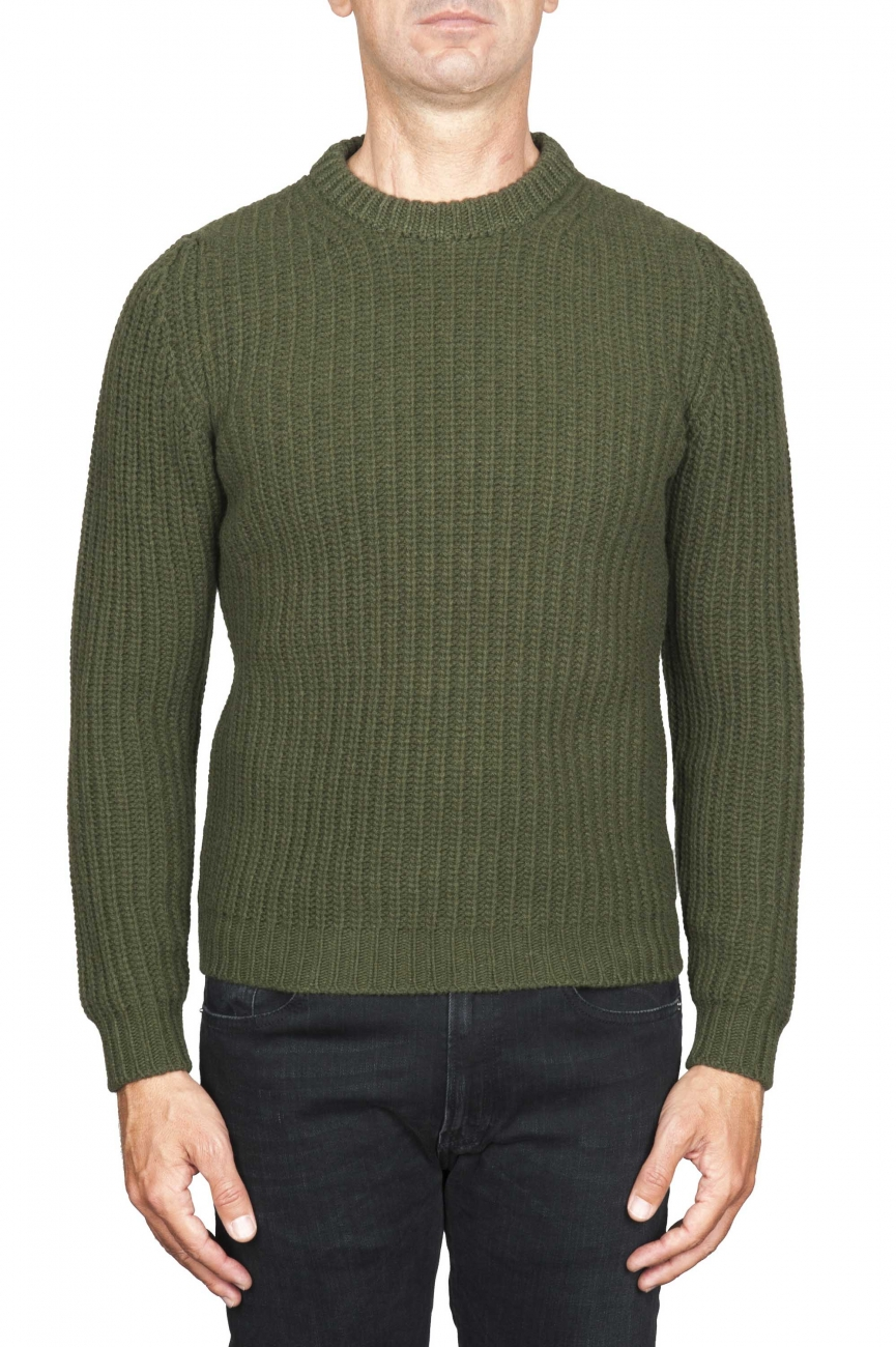 SBU 01597_19AW Classic crew neck sweater in green pure wool fisherman rib 01