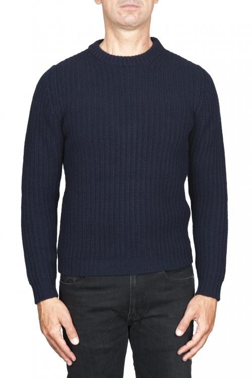 SBU 01598_19AW Suéter clásico de cuello redondo en costilla de pescador de lana pura azul 01
