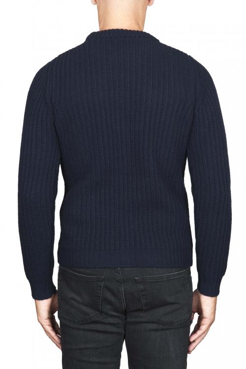SBU 01598_19AW 青い純粋なウールの漁師の肋骨のクラシッククルーネックセーター 01