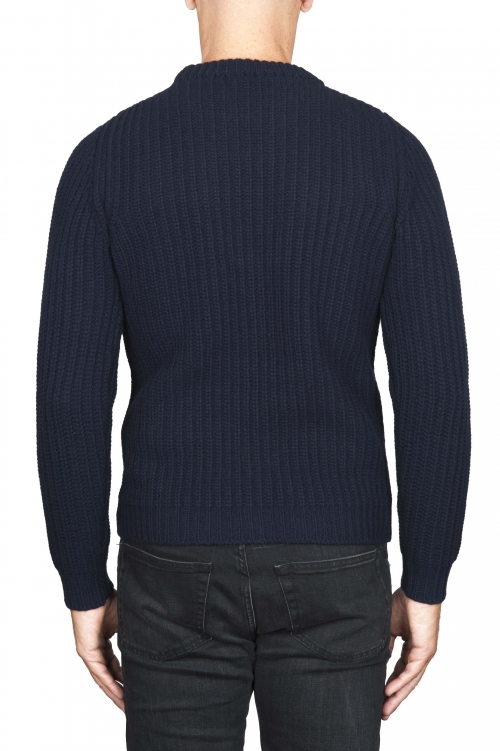 SBU 01598_19AW Classic crew neck sweater in blue pure wool fisherman rib 01