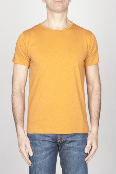 SBU - Strategic Business Unit - T-Shirt Girocollo Aperto A Maniche Corte In Cotone Fiammato Gialla