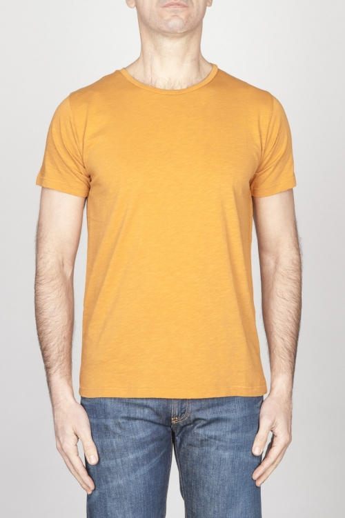 Classic Short Sleeve Flamed Cotton Scoop Neck T-Shirt Yellow
