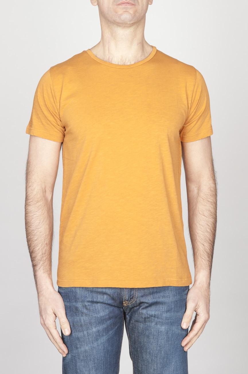 SBU - Strategic Business Unit - 古典的な短い袖のコットンスクープネックTシャツ黄色