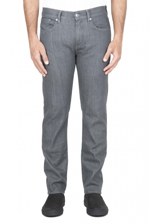 SBU 01454_19AW Natural dyed grey washed japanese stretch cotton denim jeans 01