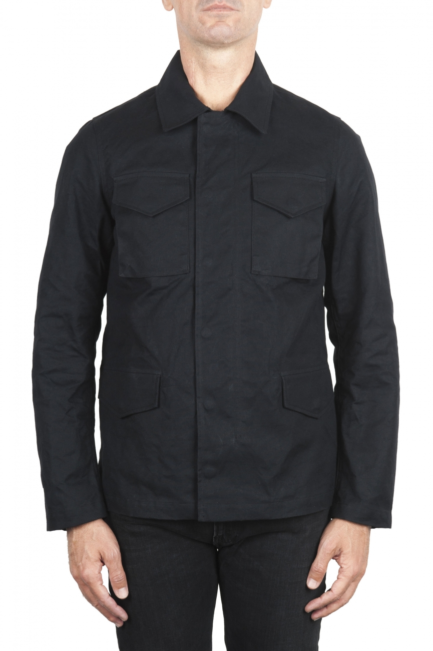 SBU 01560_19AW Wind and waterproof hunter jacket in black oiled cotton 01