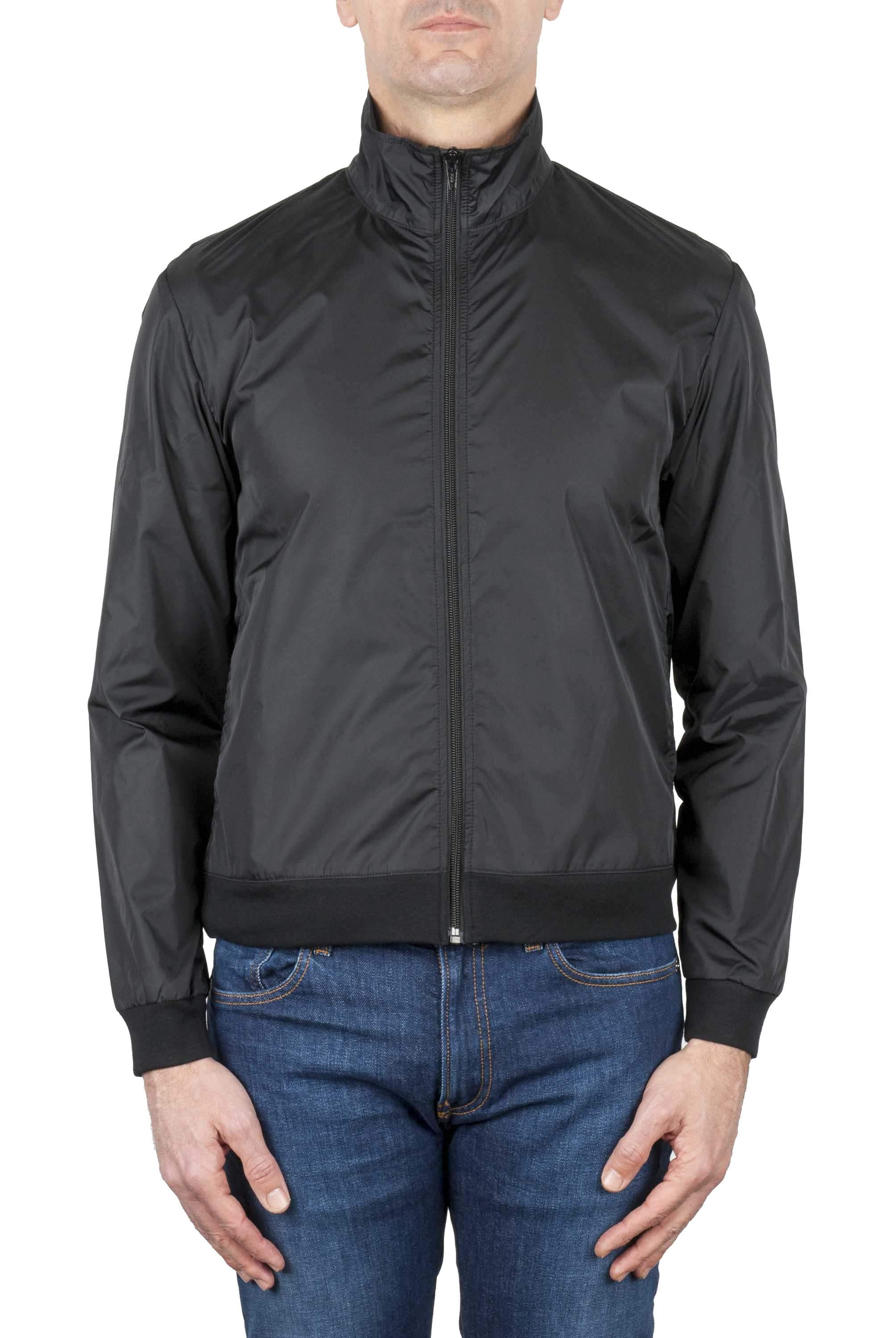 SBU 01565_19AW Windbreaker bomber jacket in black ultra-lightweight nylon 01