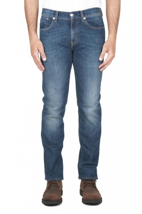 SBU 01452_19AW Teint pur indigo délavé à la pierre coton stretch jeans bleu 01