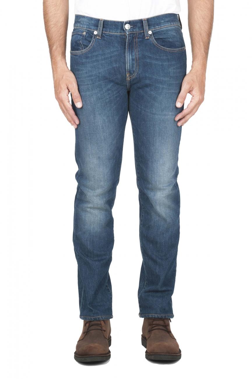 SBU 01452_19AW Jeans elasticizzato in puro indaco naturale stone washed 01