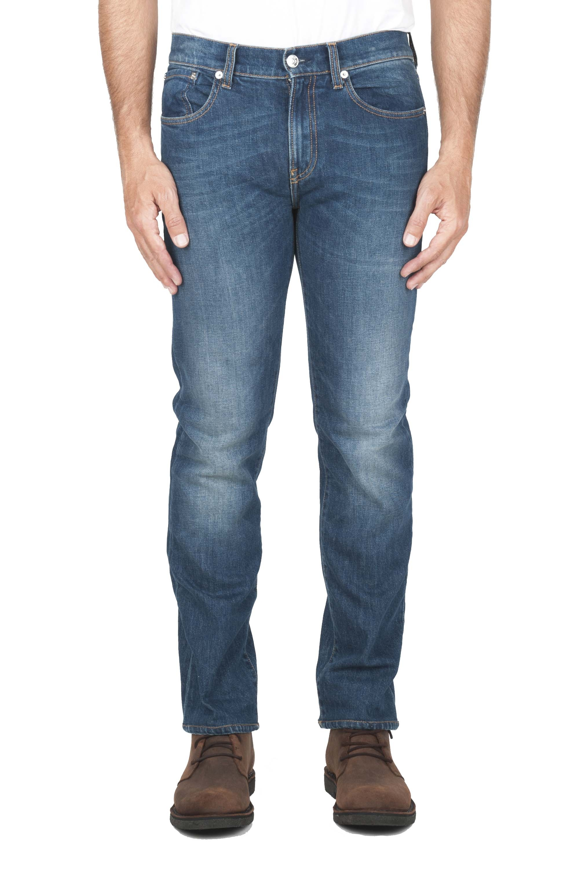 SBU 01452_19AW Pure indigo dyed stone washed stretch cotton blue jeans 01