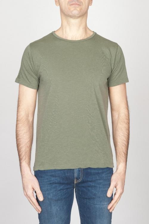 SBU - Strategic Business Unit - 古典的な短い袖のコットンスクープネックTシャツライトグリーン