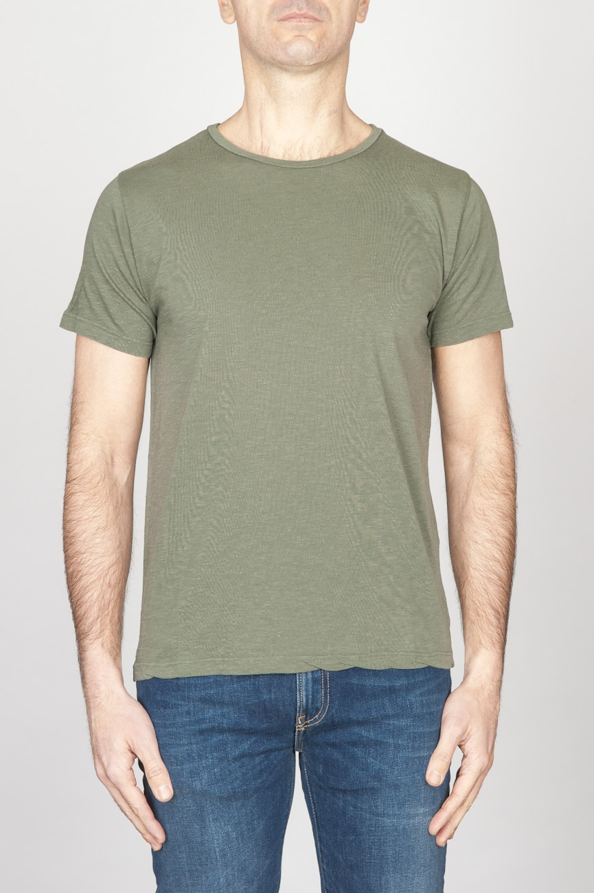 SBU - Strategic Business Unit - T-Shirt Girocollo Aperto A Maniche Corte In Cotone Fiammato Verde Militare