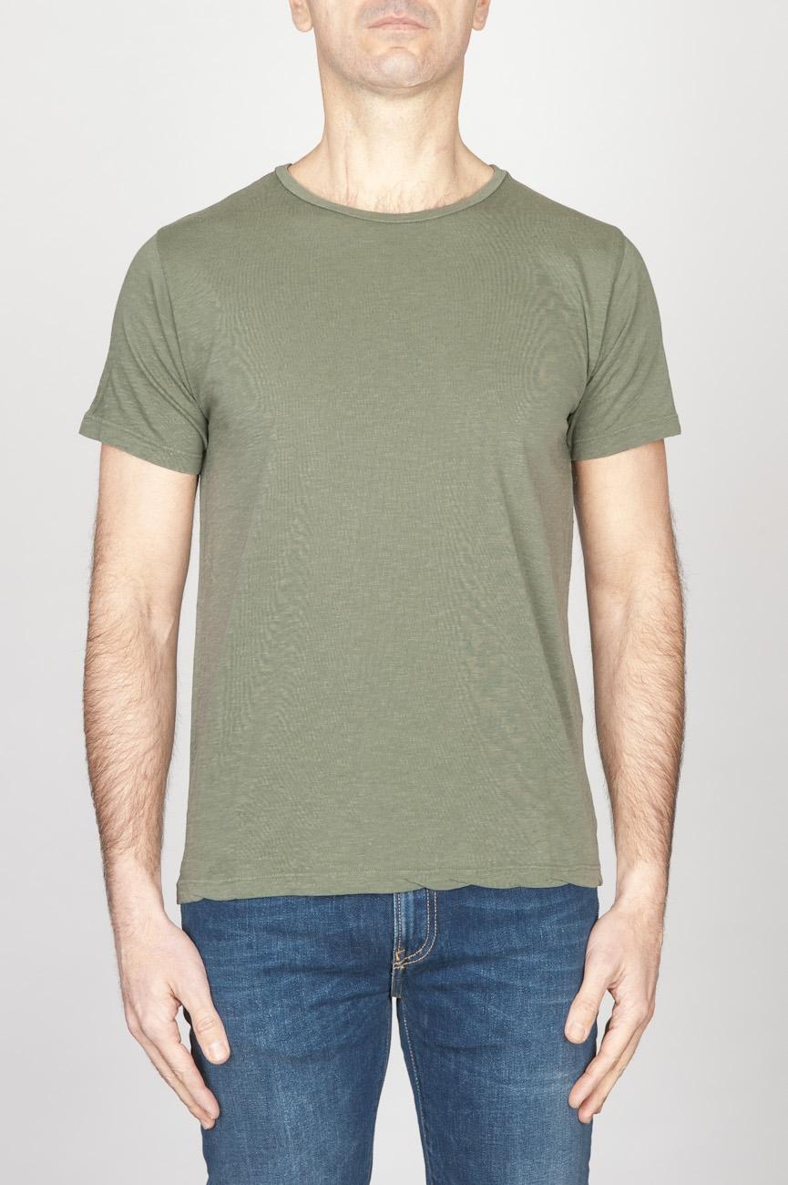 Classic Short Sleeve Flamed Cotton Scoop Neck T-Shirt Light Green