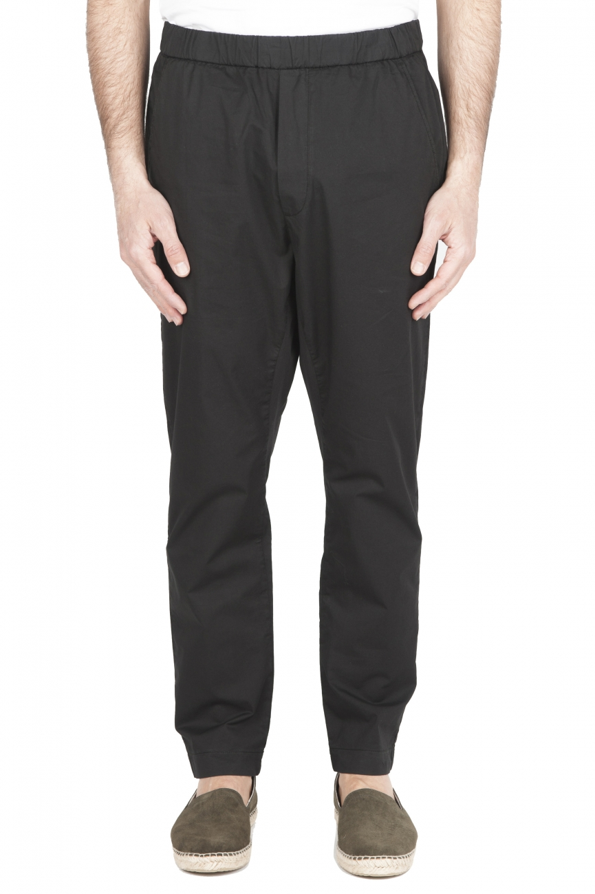 SBU 01785_2020SS Ultra-light jolly pants in black stretch cotton 01