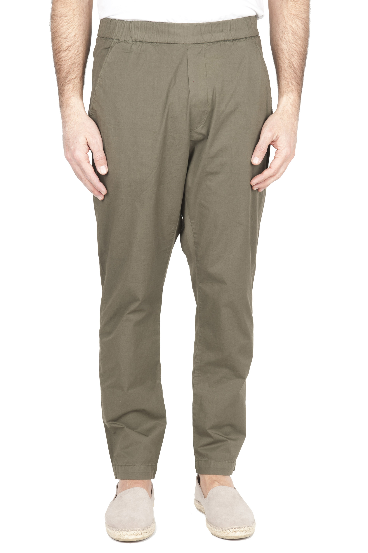 SBU 01951_2020SS Pantaloni jolly ultra leggeri in cotone elasticizzato verde 01
