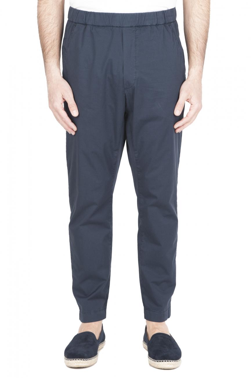 SBU 01784_2020SS Pantaloni jolly ultra leggeri in cotone elasticizzato blu 01