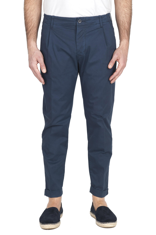 SBU 01952_2020SS Pantaloni classico in cotone con pinces e risvolto blu 01