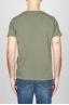 SBU - Strategic Business Unit - T-Shirt Girocollo Aperto A Maniche Corte In Cotone Fiammato Verde Militare