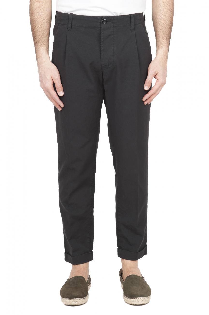 SBU 01678_2020SS Pantalon en coton gris classique avec pinces et poignets 01