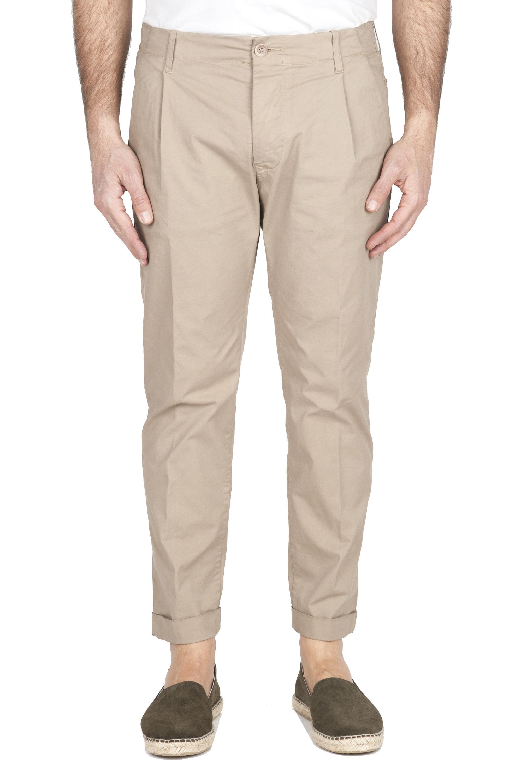 SBU 01953_2020SS Pantalon en coton beige classique avec pinces et poignets 01