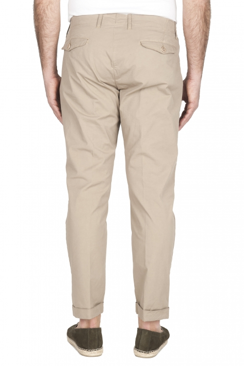 SBU 01953_2020SS Classic beige cotton pants with pinces and cuffs  01