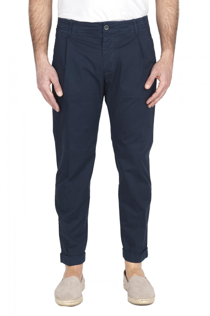 SBU 01954_2020SS Pantalón clásico de algodón azul marino con pinzas y puños 01