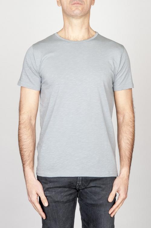 T-Shirt Girocollo Aperto A Maniche Corte In Cotone Fiammato Grigio Perla Chiaro