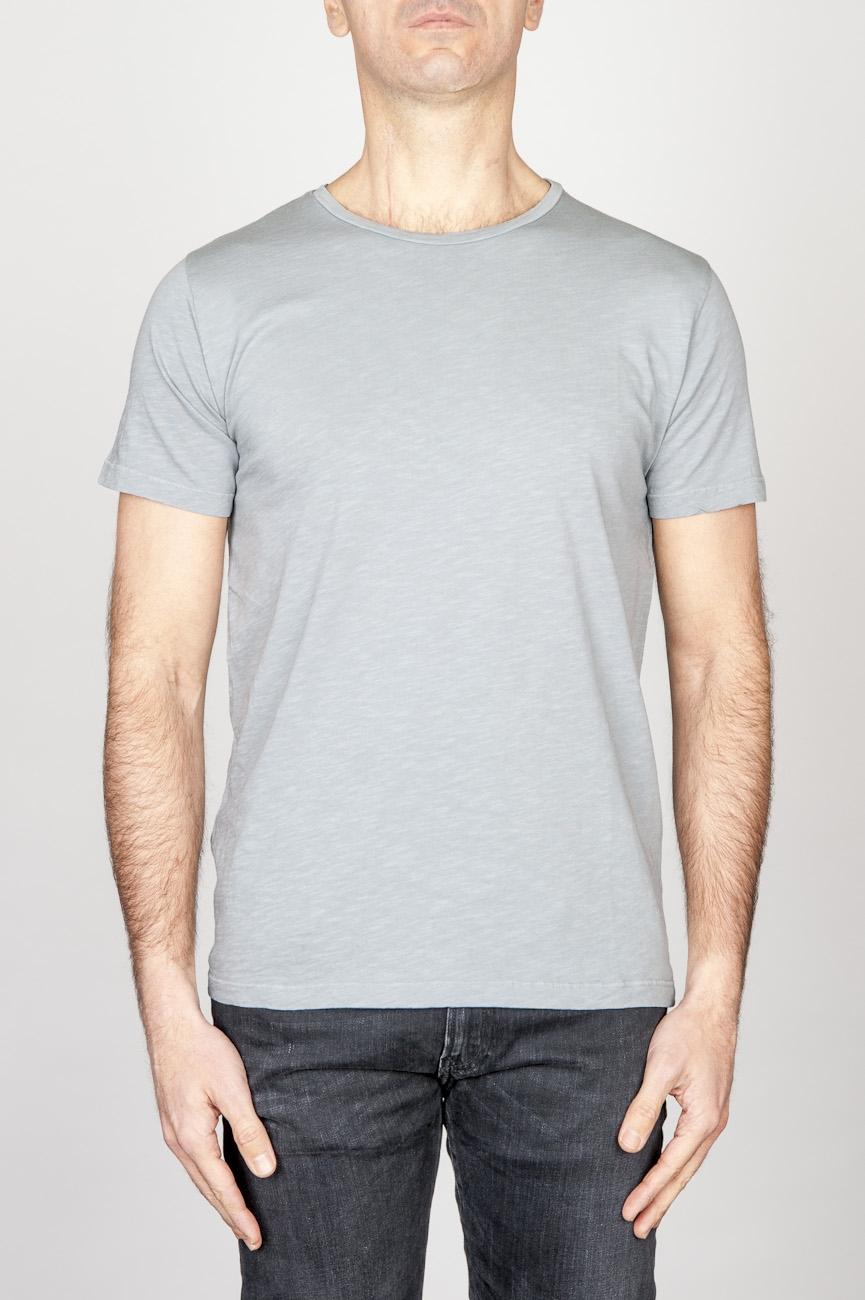 SBU - Strategic Business Unit - T-Shirt Girocollo Aperto A Maniche Corte In Cotone Fiammato Grigio Perla Chiaro