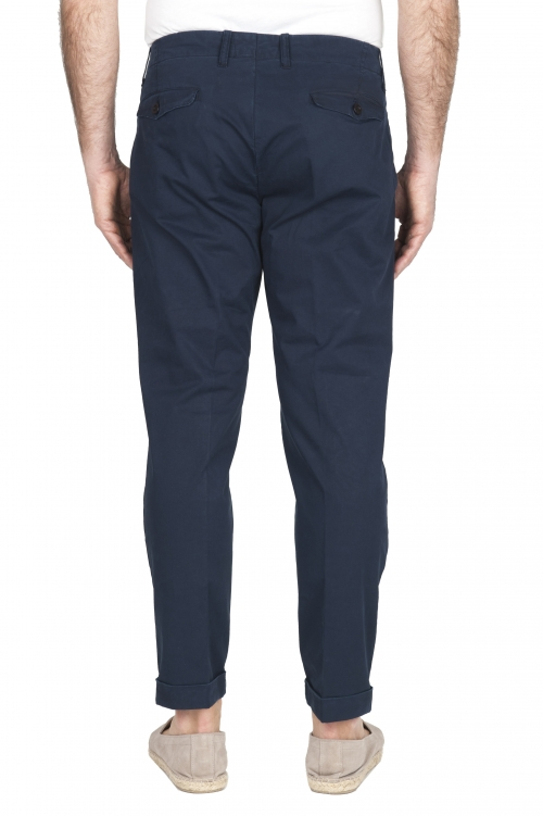 SBU 01954_2020SS Classic navy blue cotton pants with pinces and cuffs  01