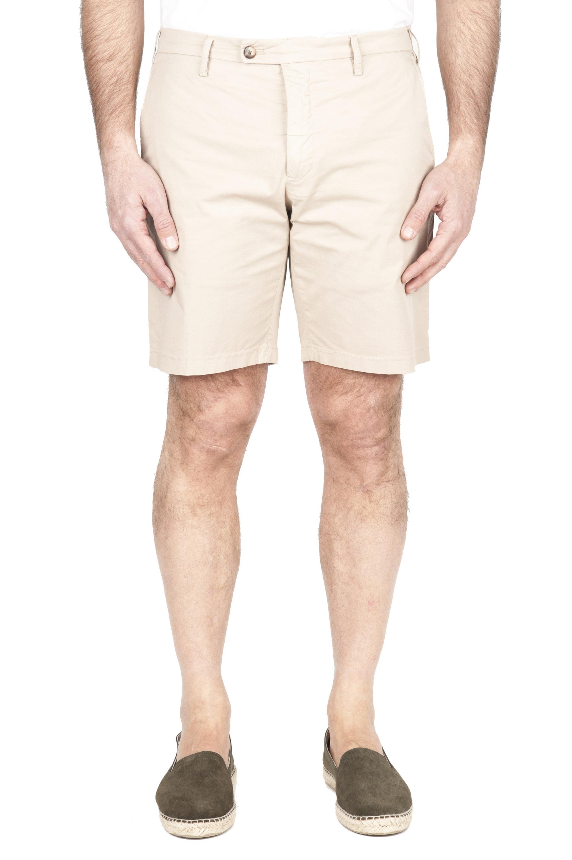 SBU 01956_2020SS Pantalón corto chino ultraligero en algodón elástico beige 01