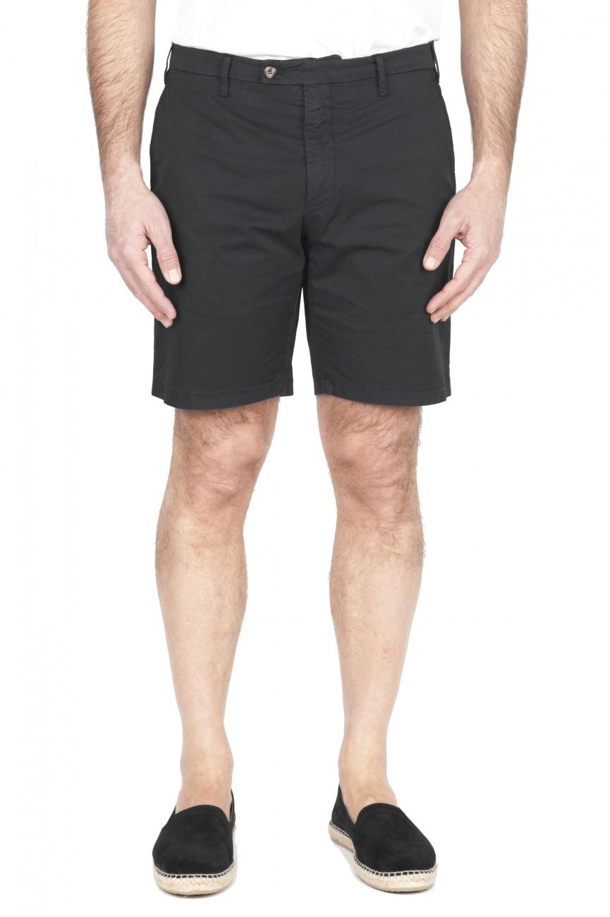 SBU 01959_2020SS Pantalón corto chino ultraligero en algodón elástico negro 01