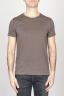 SBU - Strategic Business Unit - Classic Short Sleeve Flamed Cotton Scoop Neck T-Shirt Brown