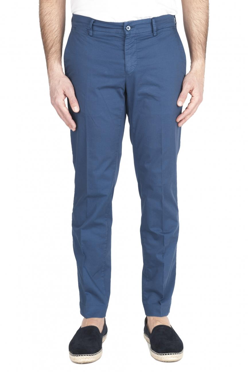 SBU 01961_2020SS Pantalones chinos clásicos en algodón elástico azul 01