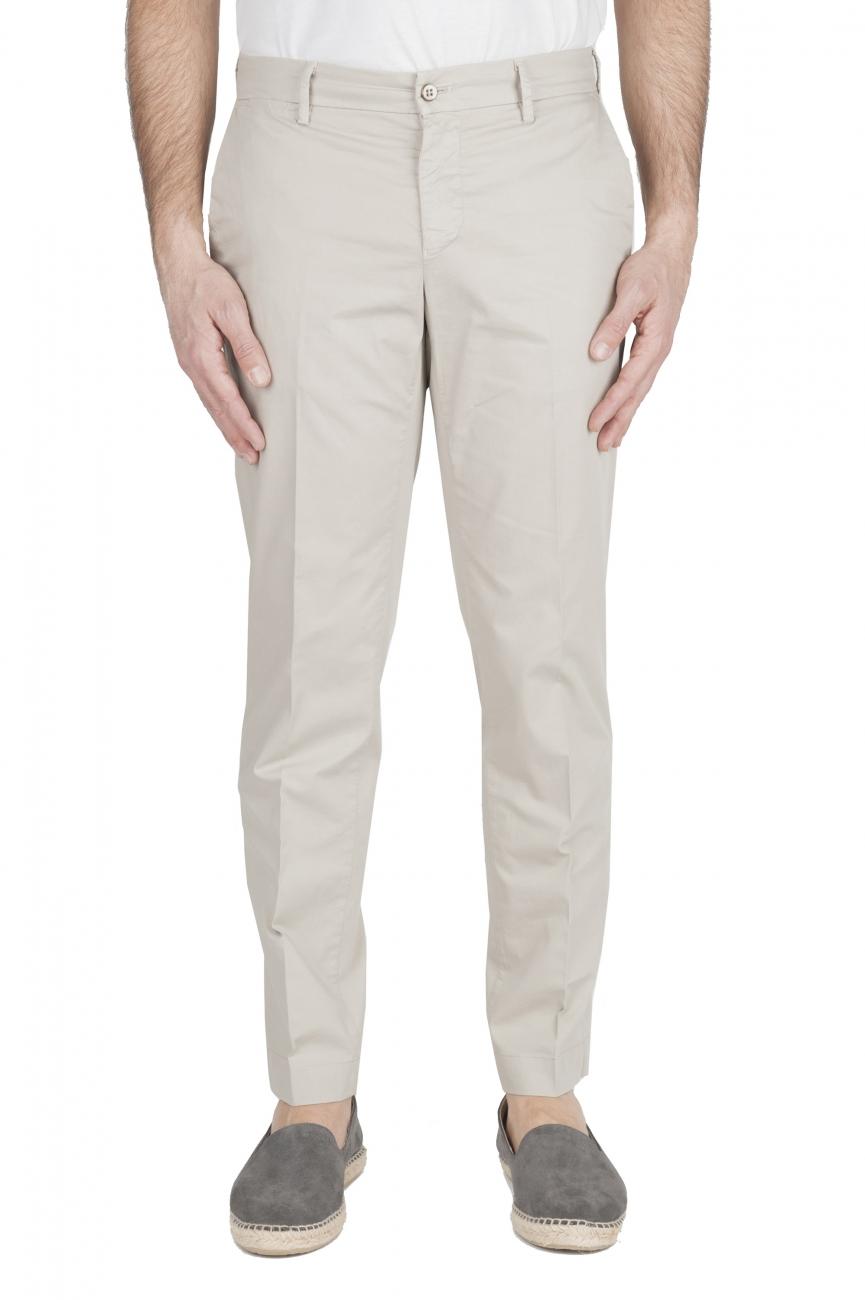 SBU 01964_2020SS Pantalón chino clásico en algodón elástico beige 01