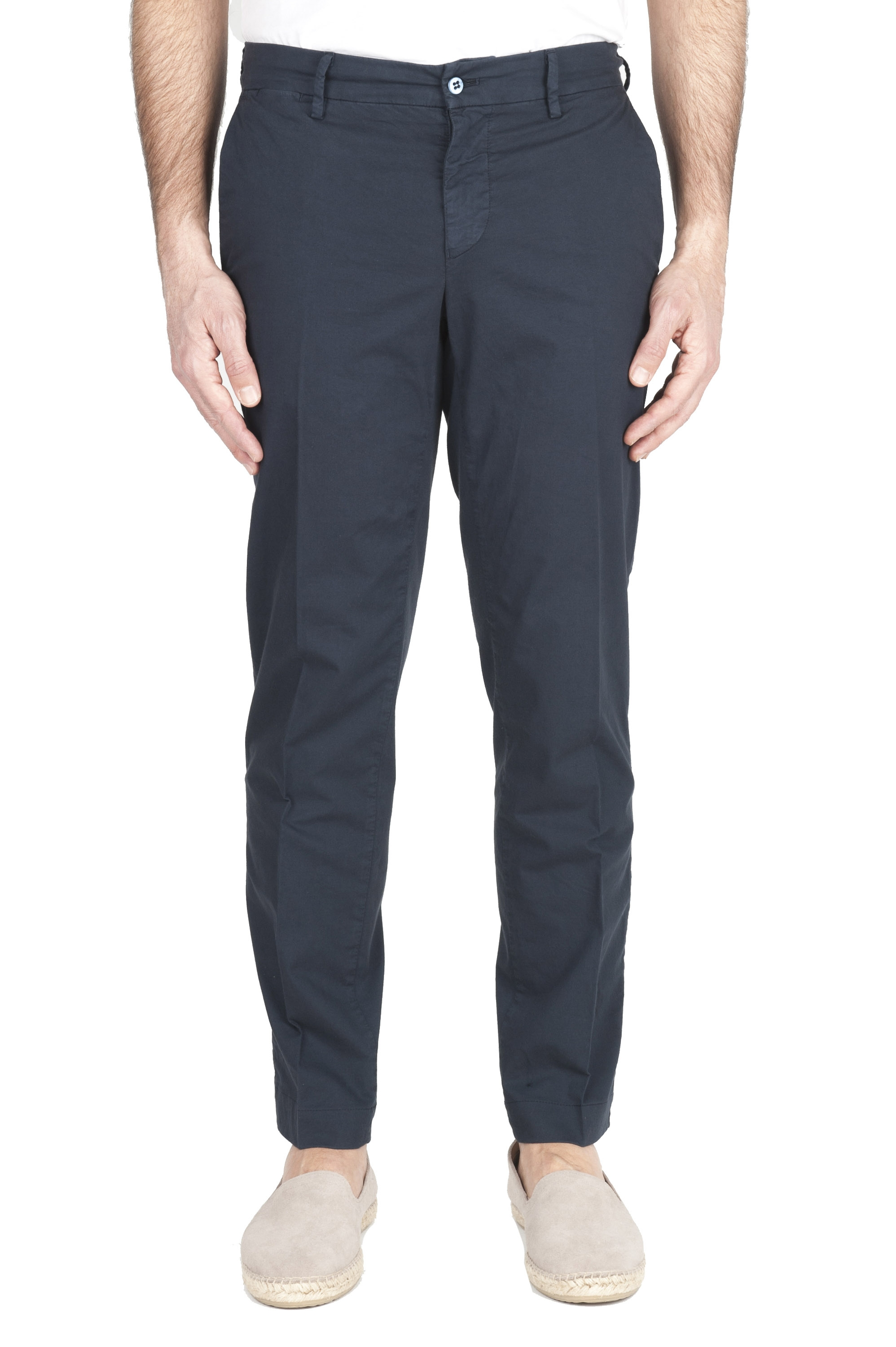 SBU 01965_2020SS Classic chino pants in navy blue stretch cotton 01