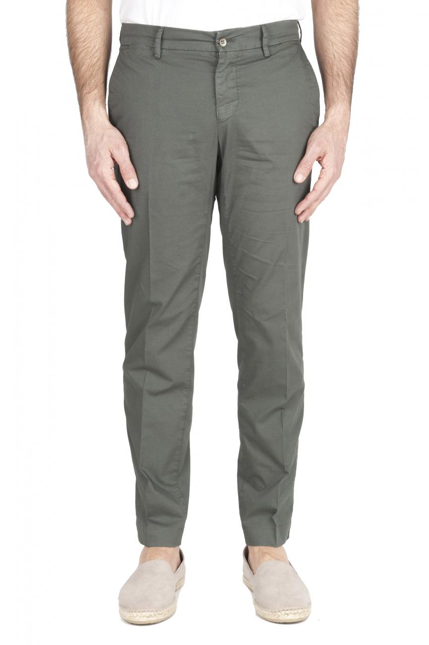 SBU 01966_2020SS Pantalón chino clásico en algodón elástico verde 01