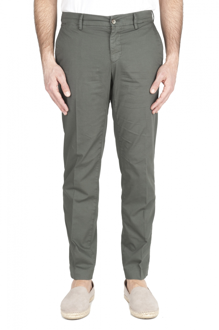 SBU 01966_2020SS Pantalon chino classique en coton stretch vert 01