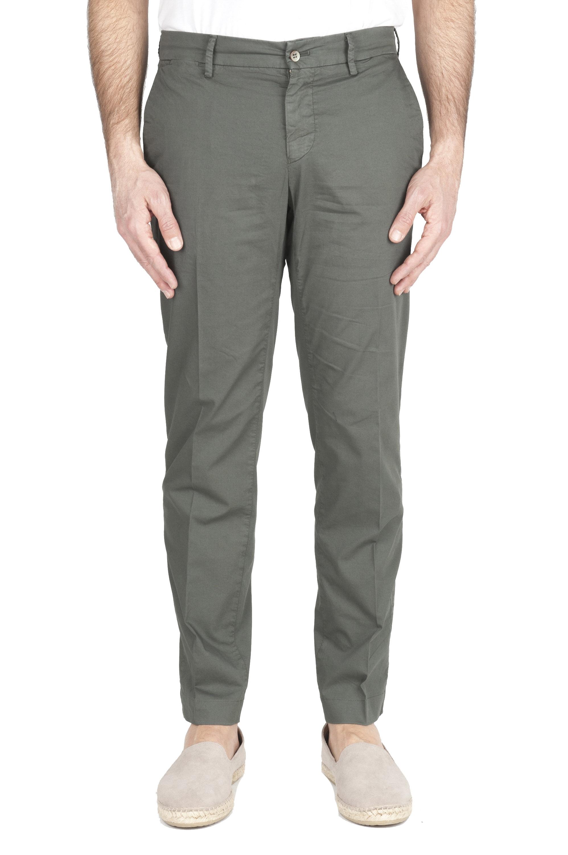 SBU 01966_2020SS Pantaloni chino classici in cotone elasticizzato verde 01