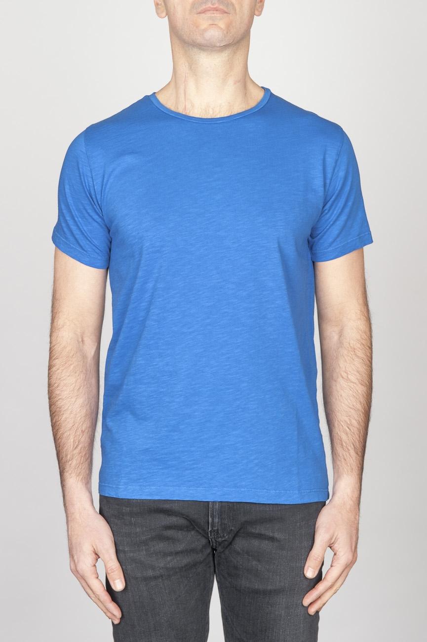 Classic Short Sleeve Flamed Cotton Scoop Neck T-Shirt Light Blue