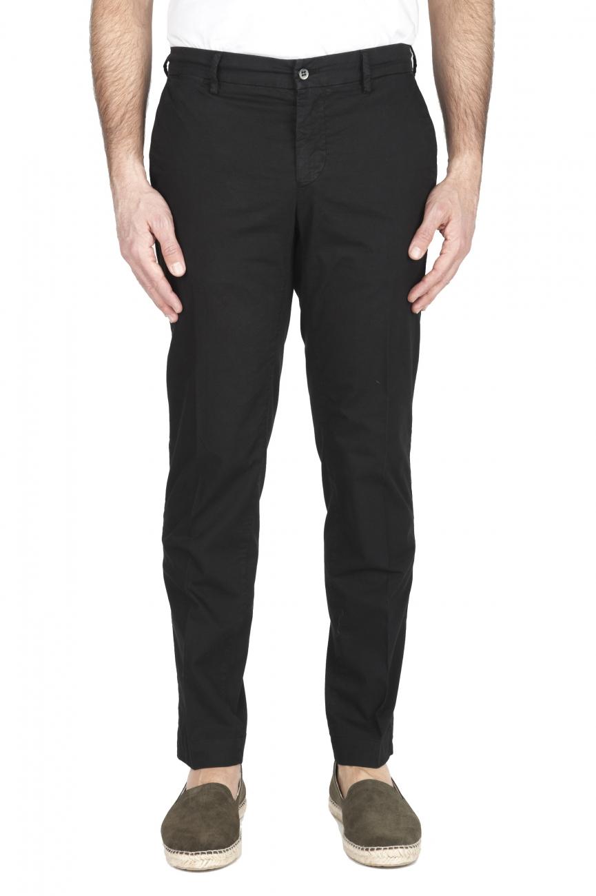 SBU 01967_2020SS Pantalón chino clásico en algodón elástico negro 01