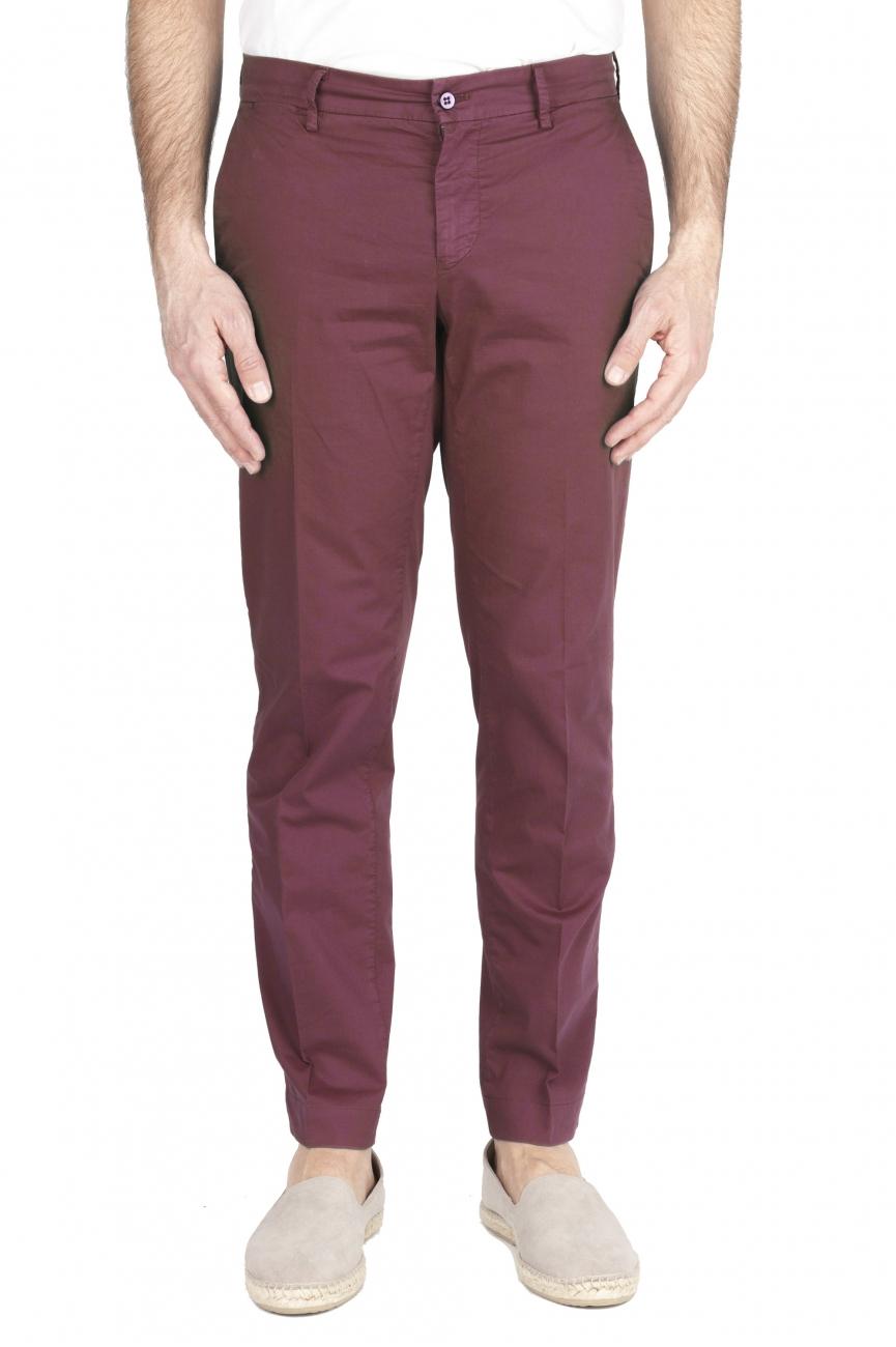 SBU 01968_2020SS Pantaloni chino classici in cotone elasticizzato bordeaux 01