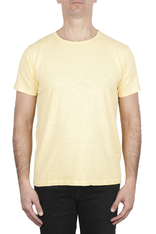 SBU 01973_2020SS T-shirt girocollo aperto in cotone fiammato gialla 01