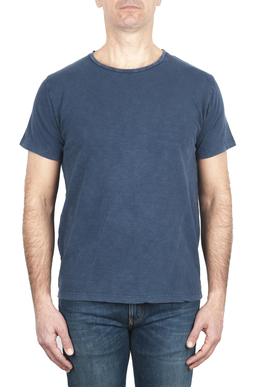 SBU 01975_2020SS Flamed cotton scoop neck t-shirt blue 01