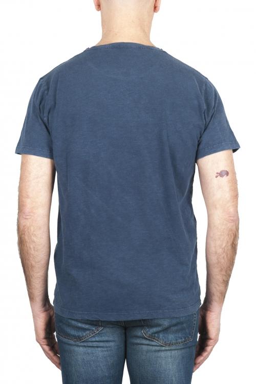 SBU 01975_2020SS T-shirt girocollo aperto in cotone fiammato blu 01